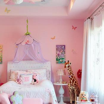 Pink Princess Room with Cloud Ceiling & Princess Canopy Bed - Transitional - girlu0027s room - Anne Hepfer Designs