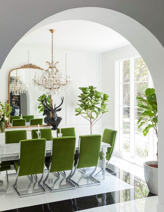 Nice Green Velvet Dining Chairs With Marble Dining Table
