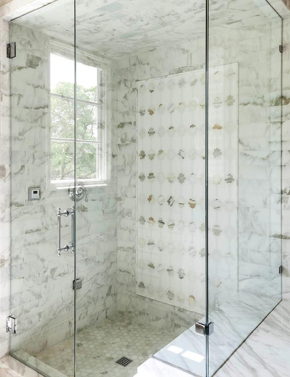 With Mirrored Moroccan Tiles Alongside A Marble Hex Shower Floor