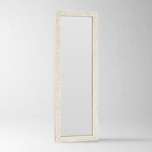 Parsons Floor Mirror With Bone Inlay In Ivory
