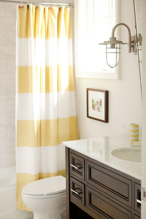 brown and white shower curtain. Yellow and Brown Bathroom with Stripe Shower Curtain