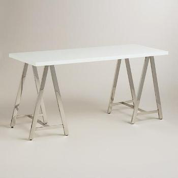 Clear And Silver Glass Cross Base Desk