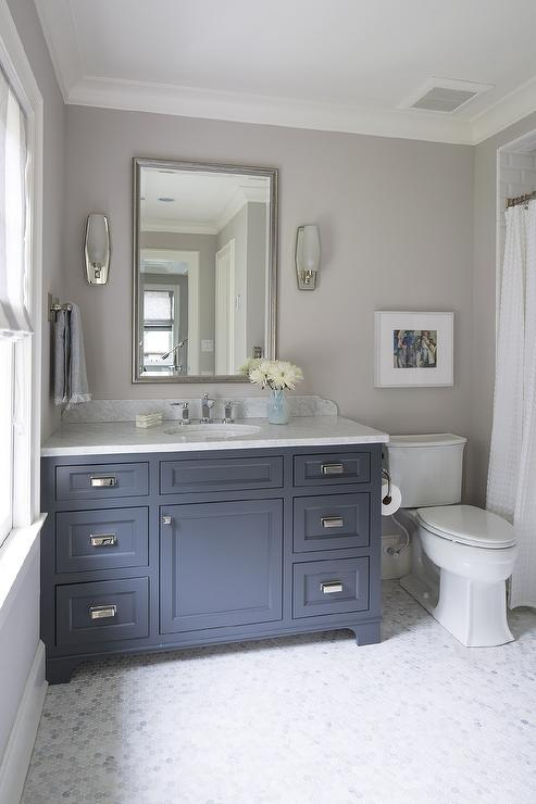 Superbe Blue And Grey Bathroom With Italian White Carrera Marble