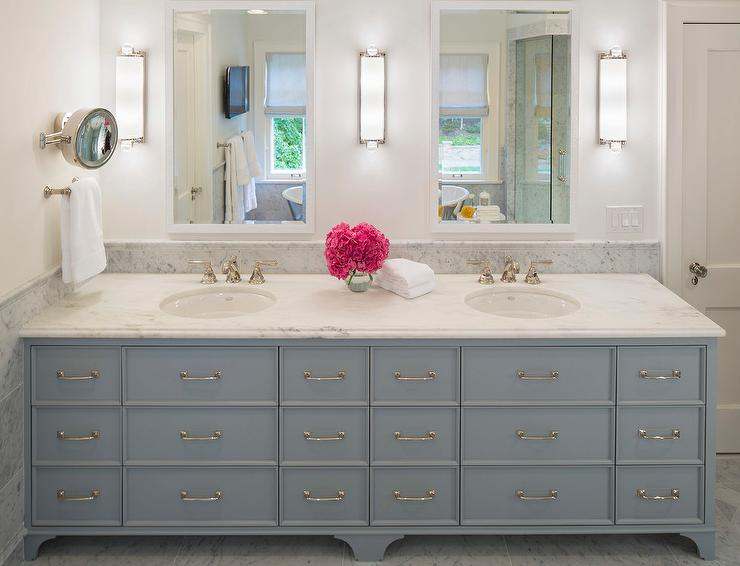 Gray Dual Vanity with Honed Olympian White Danby Marble ...