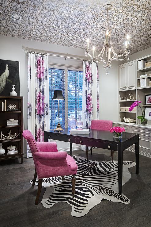 Pink And Grey Office Design Contemporary Den Library
