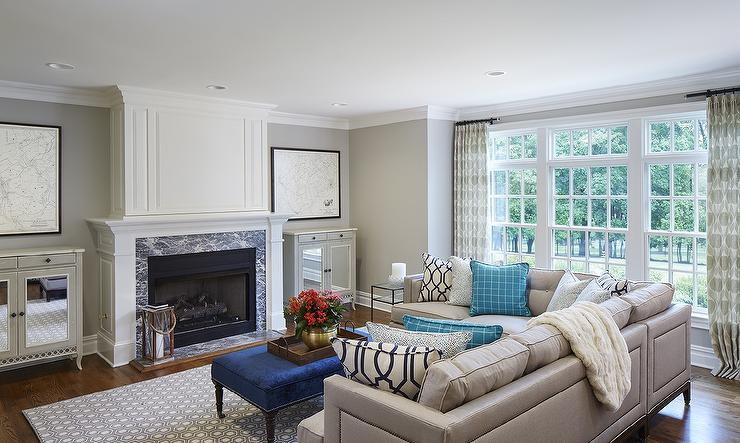 Grey And Blue Living Room With Nailhead Sectional