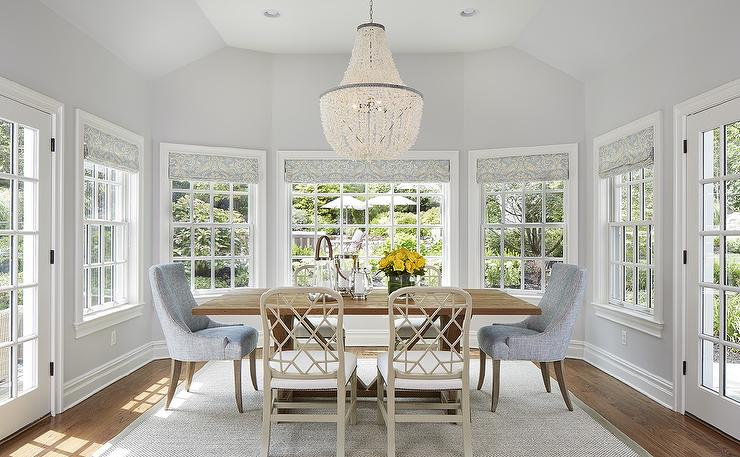 Blue And Grey Dining Room Features A White Flower Chandelier Illuminating A  Reclaimed Wood Trestle Dining Table Lined With Light Taupe Lattice Back  Dining ...