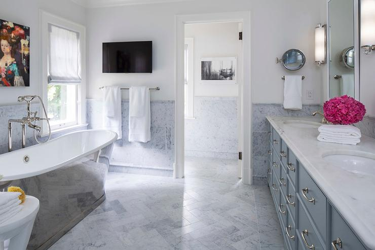 Blue and Gray Master Bathroom with Cast Iron Tub. Blue and Gray Master Bathroom with Cast Iron Tub   Contemporary