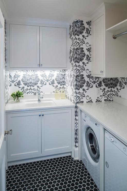 White And Black Laundry Room With Hex Tiles