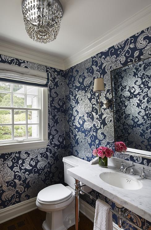 Powder room with beveled beaded mirror contemporary for Blue and silver bathroom ideas