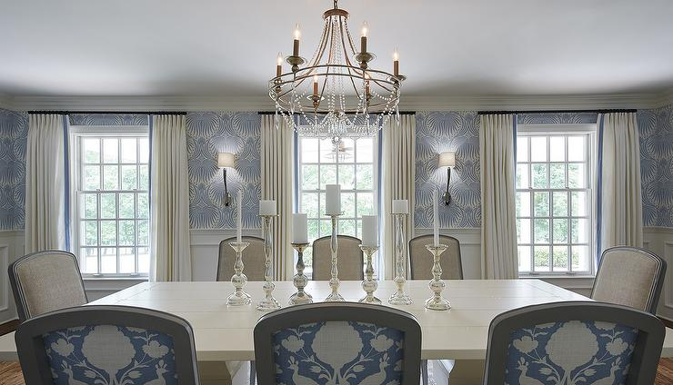 Ivory And Blue Dining Room Features Upper Walls Clad In Farrow Ball Lotus Wallpaper Lower Wainscoting Framing Windows Dressed