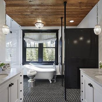 Black and White Romantic Bathroom. Black and White Hex Tile Bathroom Floor   Transitional   Bathroom