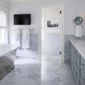 Blue And Gray Master Bathroom With Cast Iron Tub