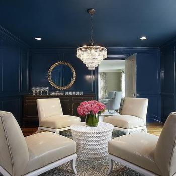 Blue Lacquered Paneled Living Room Walls With Bar Part 81