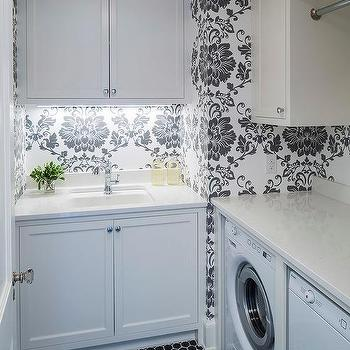 White and Black Laundry Room with Hex Tiles & Black And White Mosaic Laundry Room Hex Floor Tiles Design Ideas