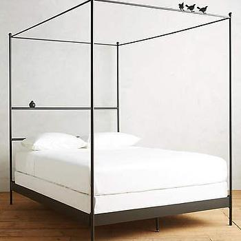 Callum 6 Drawer Storage Black Canopy Bed