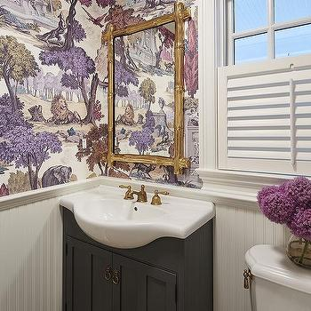 Gold and gray powder room with damask wallpaper for Purple and gold bathroom ideas