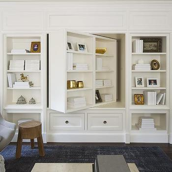 Pivoting Bookcase And Tv Cabinet