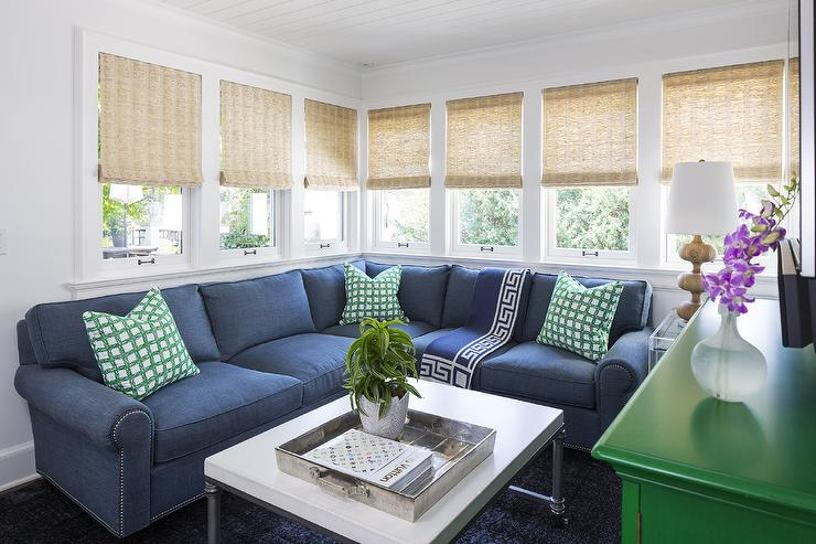 Blue and Green TV Room Design Contemporary Living Room