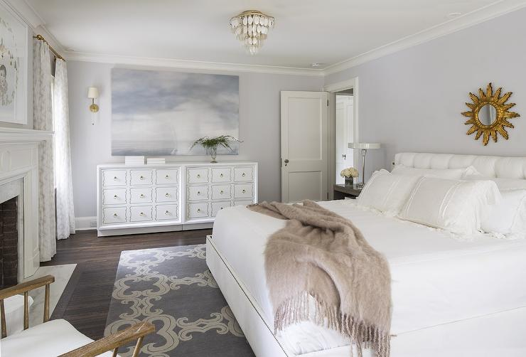 White and gray bedroom with gold sunburst mirror transitional bedroom farrow and ball - Grey and gold bedroom ...