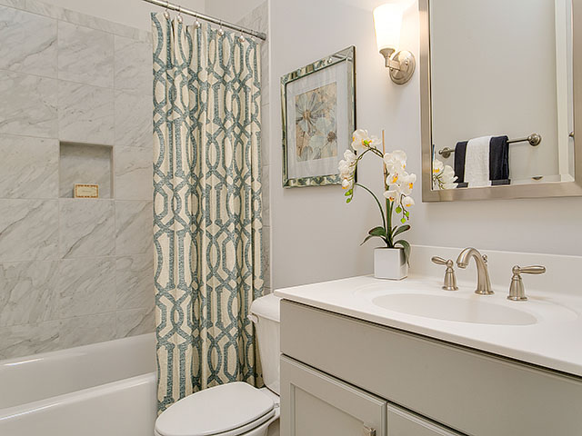 Gray And Green Bathroom With Trellis Shower Curtain Contemporary Bathroom