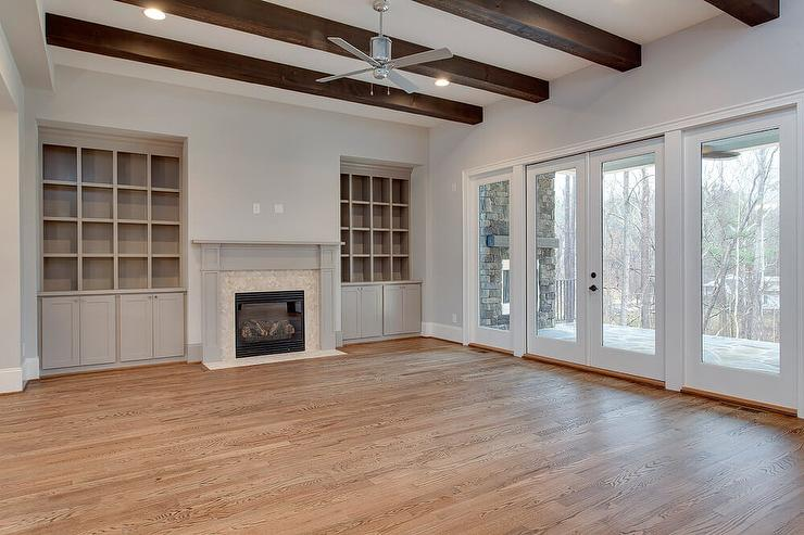 fireplace built in cabinets transitional living room