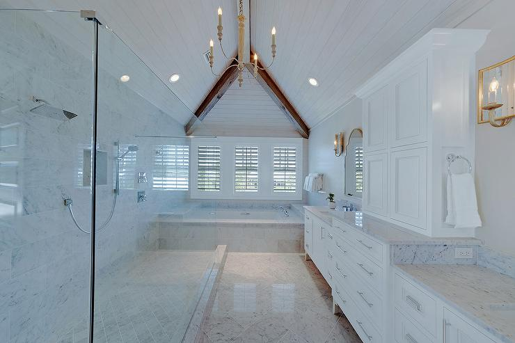 Master bathroom vaulted plank ceiling with long shower for Master bathroom vaulted ceiling