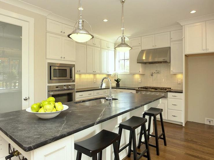 White Soapstone Countertops : Long white kitchen island with soapstone countertop