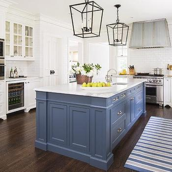 Over cabinet flatscreen tv niche transitional kitchen for Blue and white kitchen cabinets