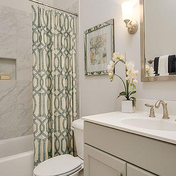 Gray And Green Bathroom With Trellis Shower Curtain