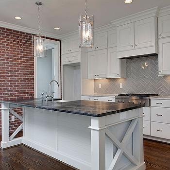 Red Brick Herringbone Kitchen Backsplash Design Ideas