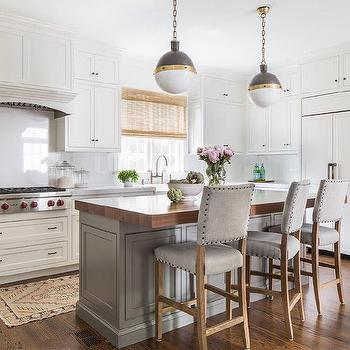 Gray Kitchen Island With Butcher Block : Thick Butcher Block Island Countertop with Gray Nailhead Counter Stools - Transitional - Kitchen