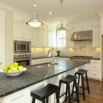 Long White Kitchen Island with Soapstone Countertop & Black Leather Saddle Stools Design Ideas islam-shia.org