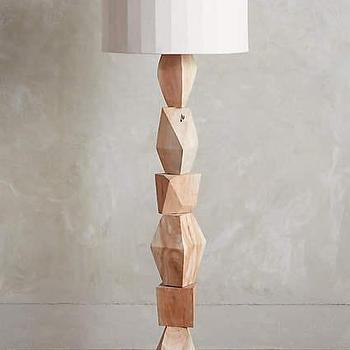 Jamie young stacked silver floor lamp stacked woodblock floor lamp ensemble in neutral mozeypictures Image collections