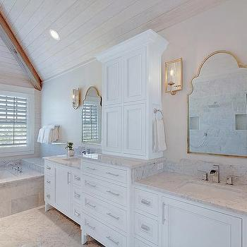 Bathroom Ceiling Sconces master bathroom vaulted plank ceiling with long shower - cottage