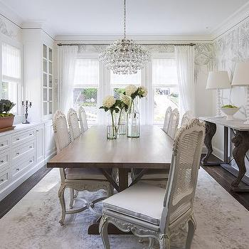White French Cane Back Dining Chairs With Walnut Stained Trestle Table