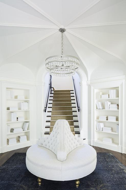 Rotunda Foyer With Built In Bookcases Transitional