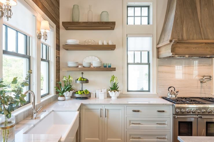 Oak Wood French Kitchen Hood And Backsplash Cottage