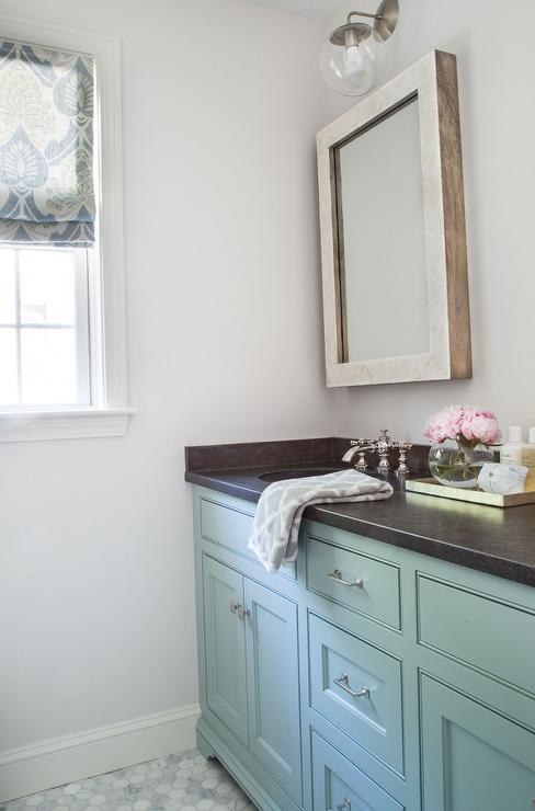 Turquoise blue vanity with honed black granite countertop - Black marble bathroom countertops ...