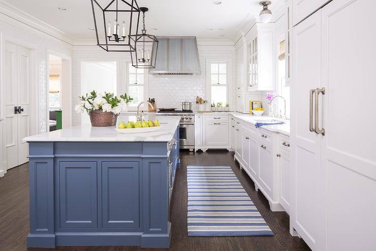 Blue Kitchen Island with Blue Striped Runner