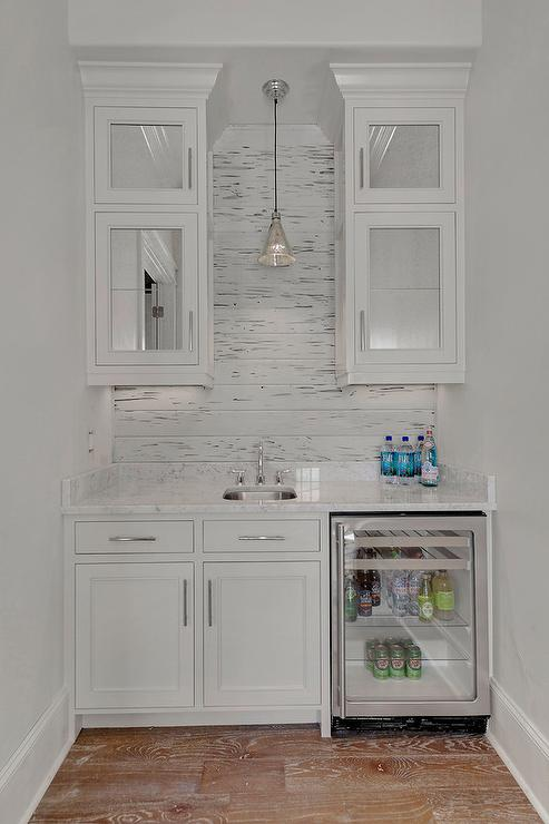 White Butler Pantry With Plank Backsplash Cottage Kitchen