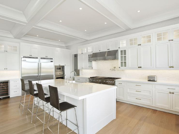 White Kitchen Island white kitchen island with dark wood barstools - contemporary - kitchen