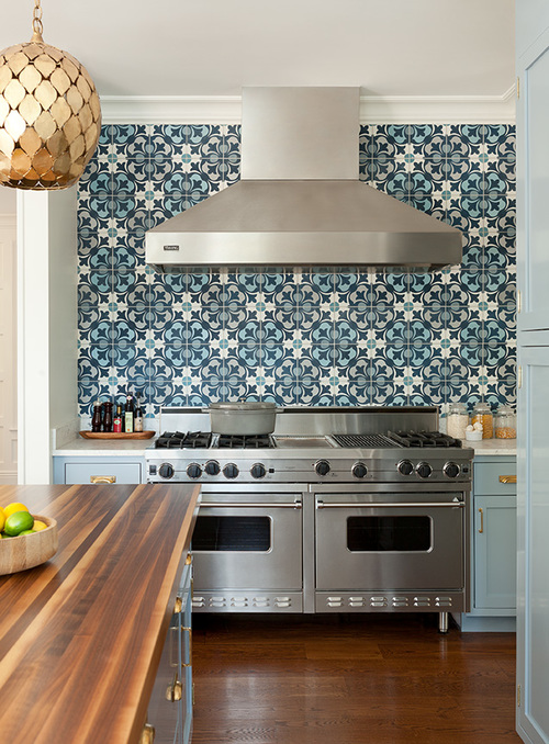 Blue Kitchen Cabinets With Mosaic Tile Backsplash