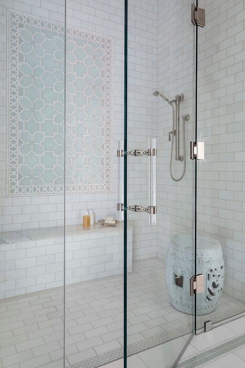Blue Geometric Shower Accent Tiles With Bench