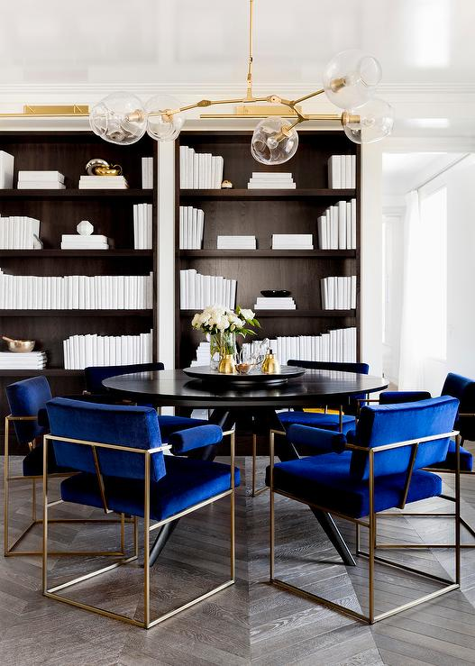 Round Black Dining Table With Royal Blue Velvet Dining