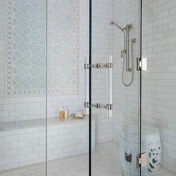 Blue Ombre Ceramic Shower Tiles Transitional Bathroom