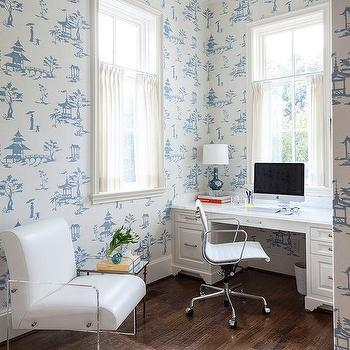 Office With Blue Toile Wallpaper And Leather And Lucite Chair