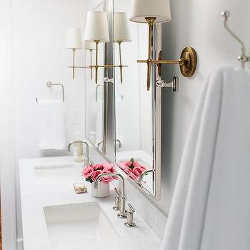 Nickel Bathroom Mirrors With Antique Brass Sconces