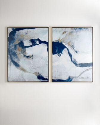 Percussion I And Ii Giclees 2 Piece Set In Blue And Grey