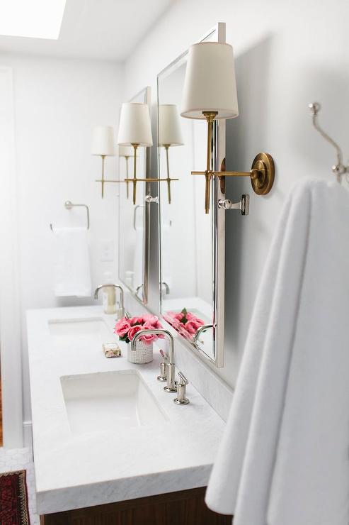Merveilleux Nickel Bathroom Mirrors With Antique Brass Sconces
